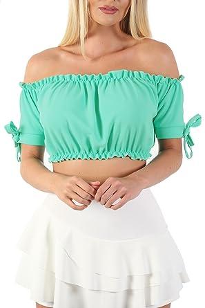 2e4e6e061e56c PILOT® Women s Ruched Bardot Gypsy Crop Top in Aqua Green