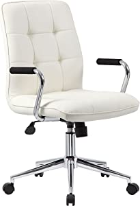 Boss Office Products Modern Office Chair with Chrome Arms, Traditional, White