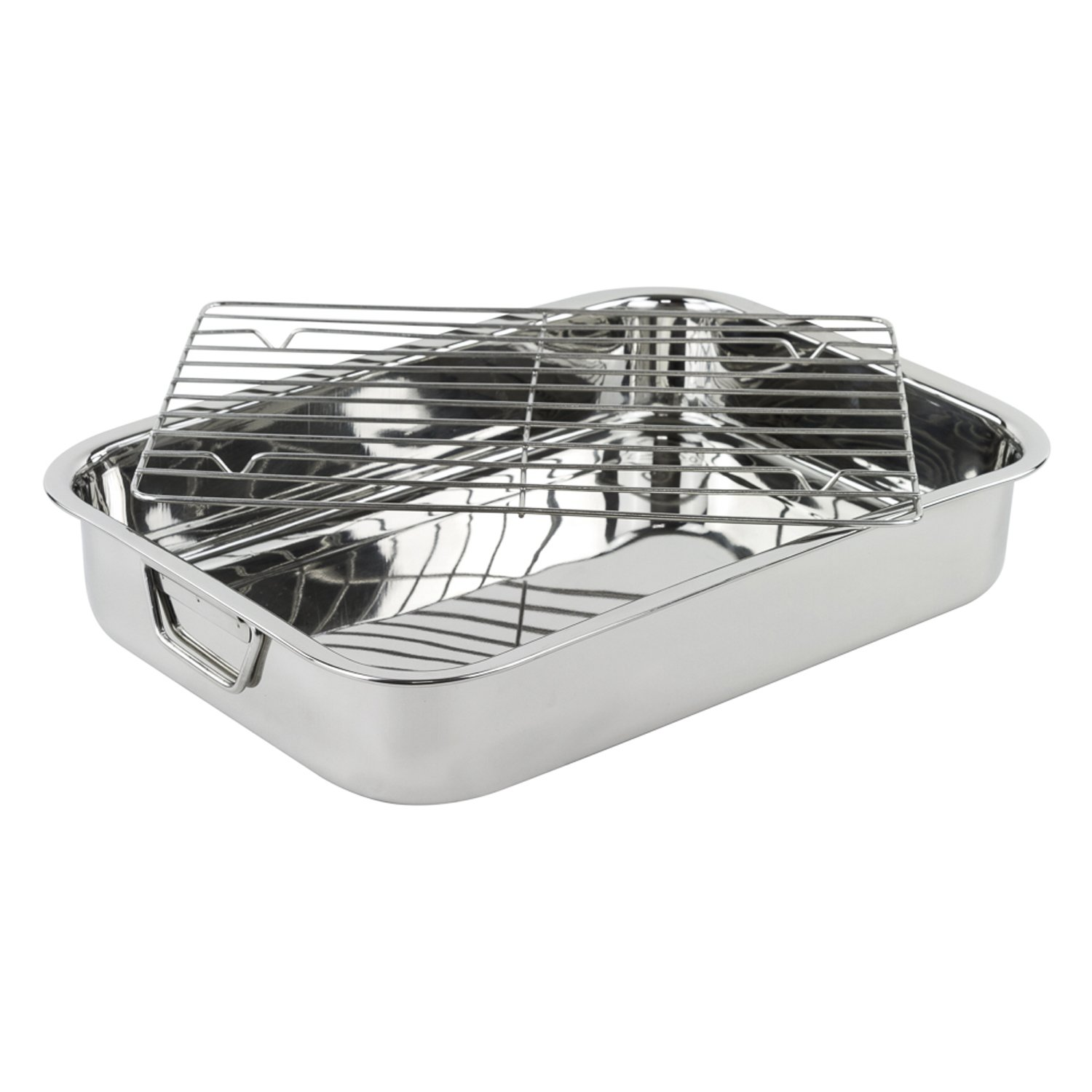 Stainless Steel Heavy Duty 16 Lasagna/Roasting Pan with Rack Imperial Home MW1418