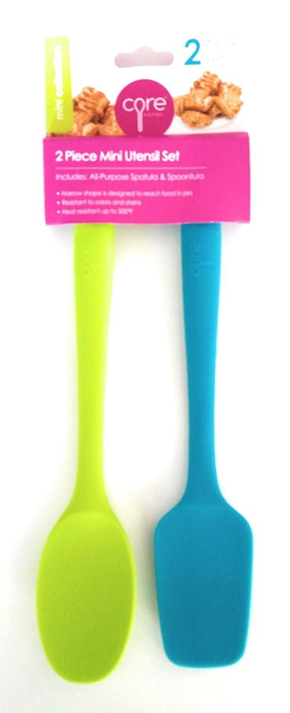 コア2ピースミニキッチン台所用具セット – すべての目的スパチュラ( Teal ) & Spoontula (ライム) B07BPCTBMS