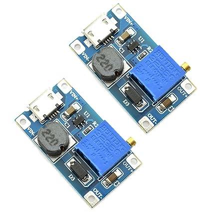 DZS Elec 2pcs Mini DC-DC Adjustable Boost Converter Voltage Regulator  2V-24V to 5V-28V 2A Step-Up USB Input Power Module DIY 5V 9V 12V 18V 24V DC