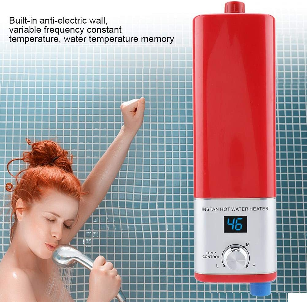 Sugoyi Water Heater, 5500W 220V Mini Instant Hot Smart Water Heater Easy Installation for Kitchen Bathroom(White) Red