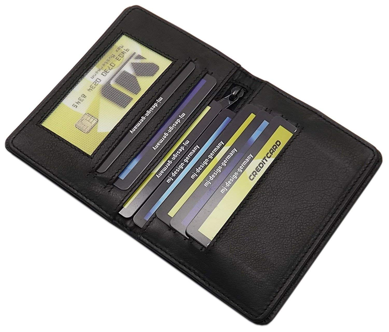 Porta carte didentit/à e carte di credito pelle di vitello MJ-Design-Germany in 3 diversi colori Nero