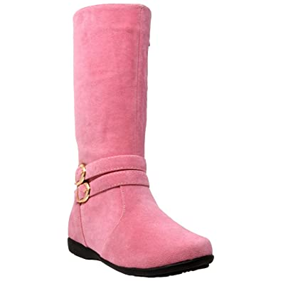 c7dc9fc7fd9 Generation Y Kids Boots Knee High Girls Faux Suede Gold Buckle Accent  Riding Shoes Pink SZ