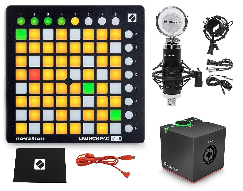 Novation LAUNCHPAD MINI MK2 MKII USB DJ Controller, 64-Pad+Microphone+Preamp
