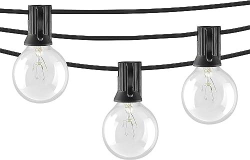 Mr Beams 5W G40 Bulb Incandescent Weatherproof Indoor Outdoor String Lights, 100 feet, Black Renewed
