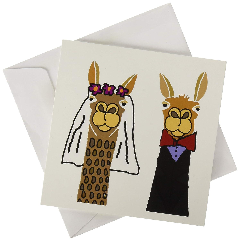 3dRose gc/_255713/_5 6 x 6-InchFunny Cute Llama Bride and Groom Wedding Art Greeting Card
