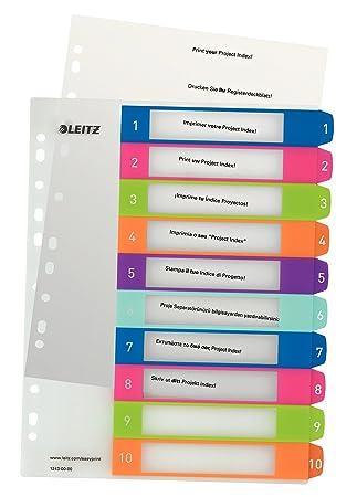 Leitz WOW - Índices adhesivos (1 a 10), colores surtidos: Amazon.es: Oficina y papelería
