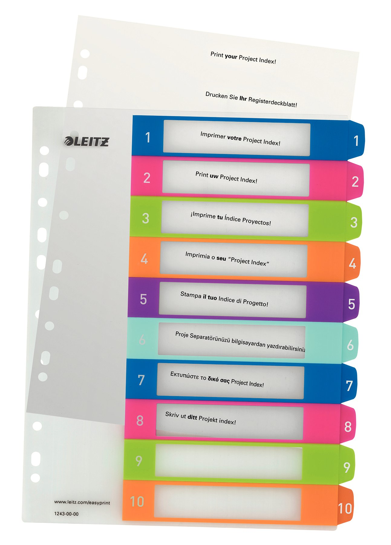 Leitz A4 12430000 WOW 1-10 Index, PC-Printable, Extra Wide, Heavy Duty Plastic, Multicolour