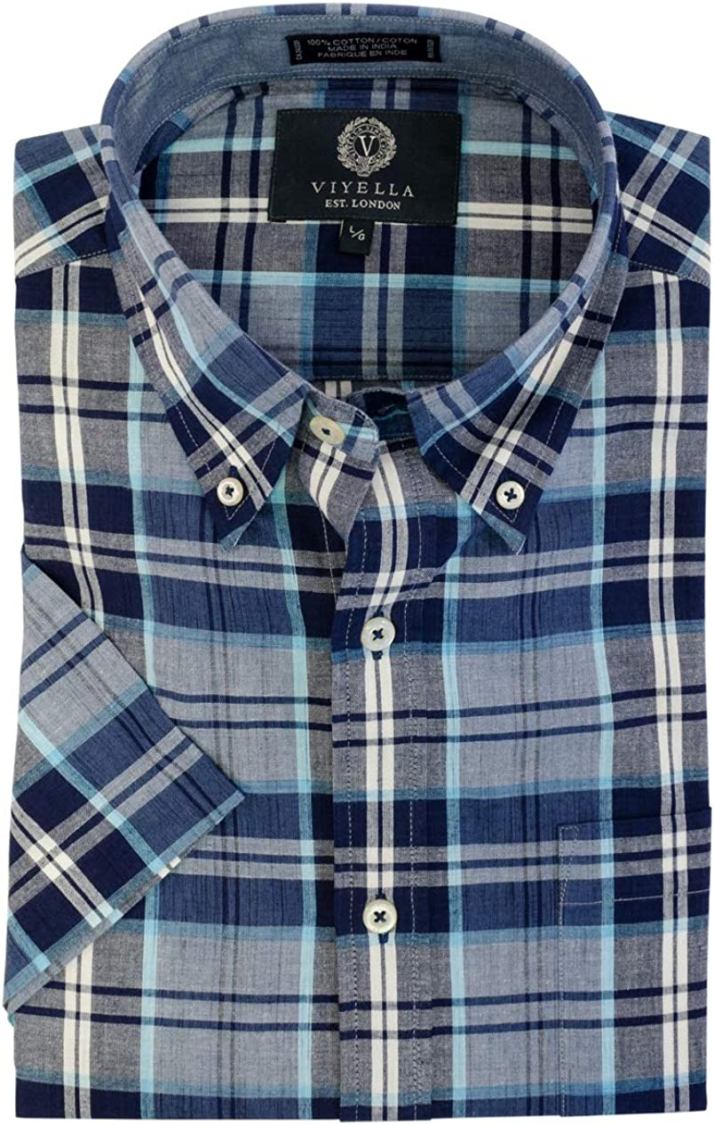 Viyella Mens Short Sleeve Madras Plaid Sport Shirt