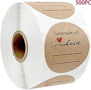 "Labels for Jars, 1.0"" Round Natural Kraft Homemade with Love Stickers, Homemade Stickers Labels for Gift, Love Printable Labels, Decorative Printer Paper for DIY Envelope, Date Labels for Food 500 PCS"
