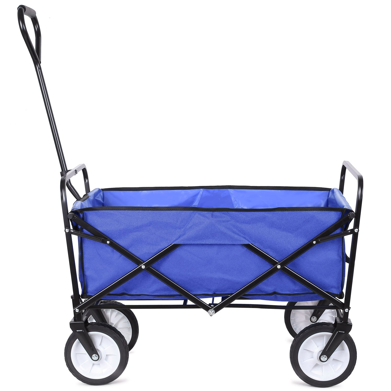 FIXKIT Collapsible Outdoor Utility Wagon, Folding Sturdy Garden Shopping Cart for Beach with All-Terrain Wheels, Blue