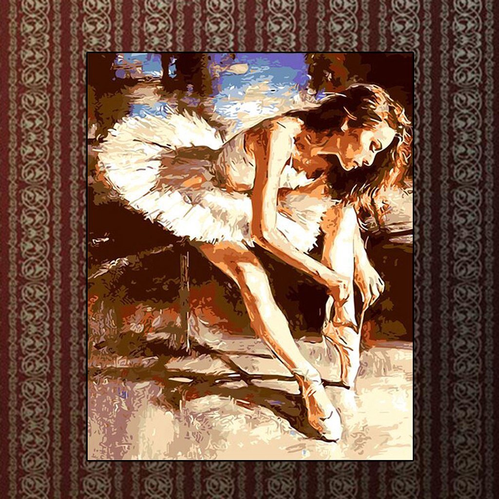 GUOQIAO✯ Ballet Dancer Tie The Shoelace Unframed DIY Paint By Numbers Oil Painting Home Decor