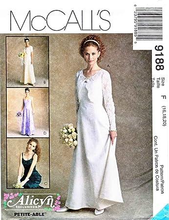 McCall\'s 9188 Damen Schnittmuster, Größe M, EU 42-46 Alicyn Braut ...