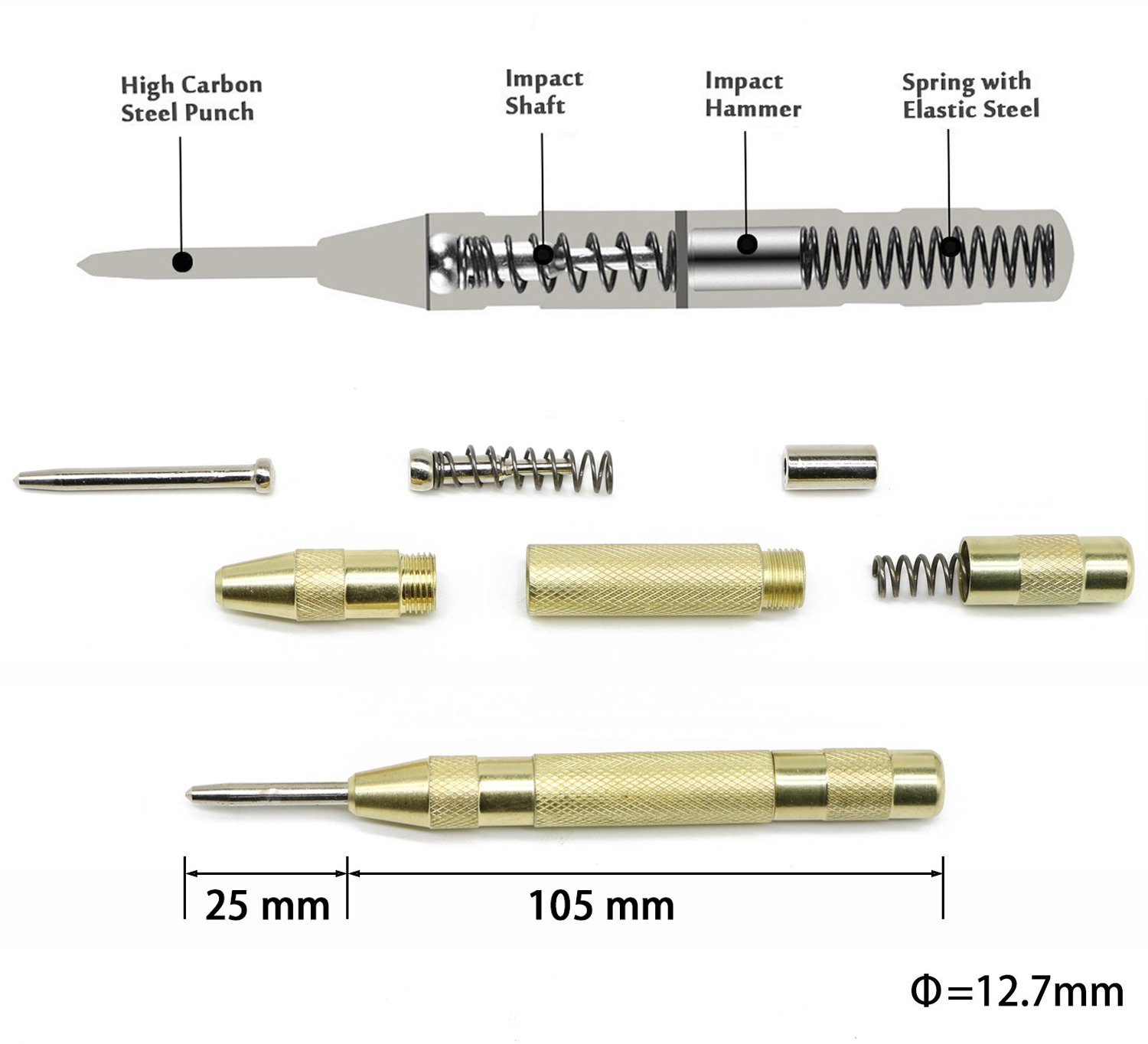 6 Pcs 1//4 HSS Spiral Hex Shank Combination Drill Screw Tap Bit Set M3-M10 with Automatic Spring Loaded Center Punch Tool