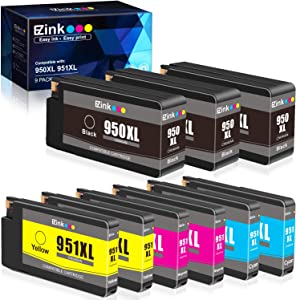 E-Z Ink (TM) Compatible Ink Cartridge Replacement for HP 950XL 951XL 950 XL 951 XL to use with OfficeJet Pro 8610 8600 8615 8620 8625 8100 276dw 251dw(3 Black, 2 Cyan, 2 Magenta, 2 Yellow, 9 Pack