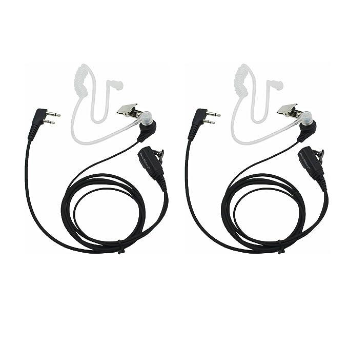GoodQbuy 2 Pin PTT Mic Covert Acoustic Tube Earpiece Headset for Icom Radio IC-F24S IC-F31 IC-F3 IC-F3S IC-F4 (Pack of 2)