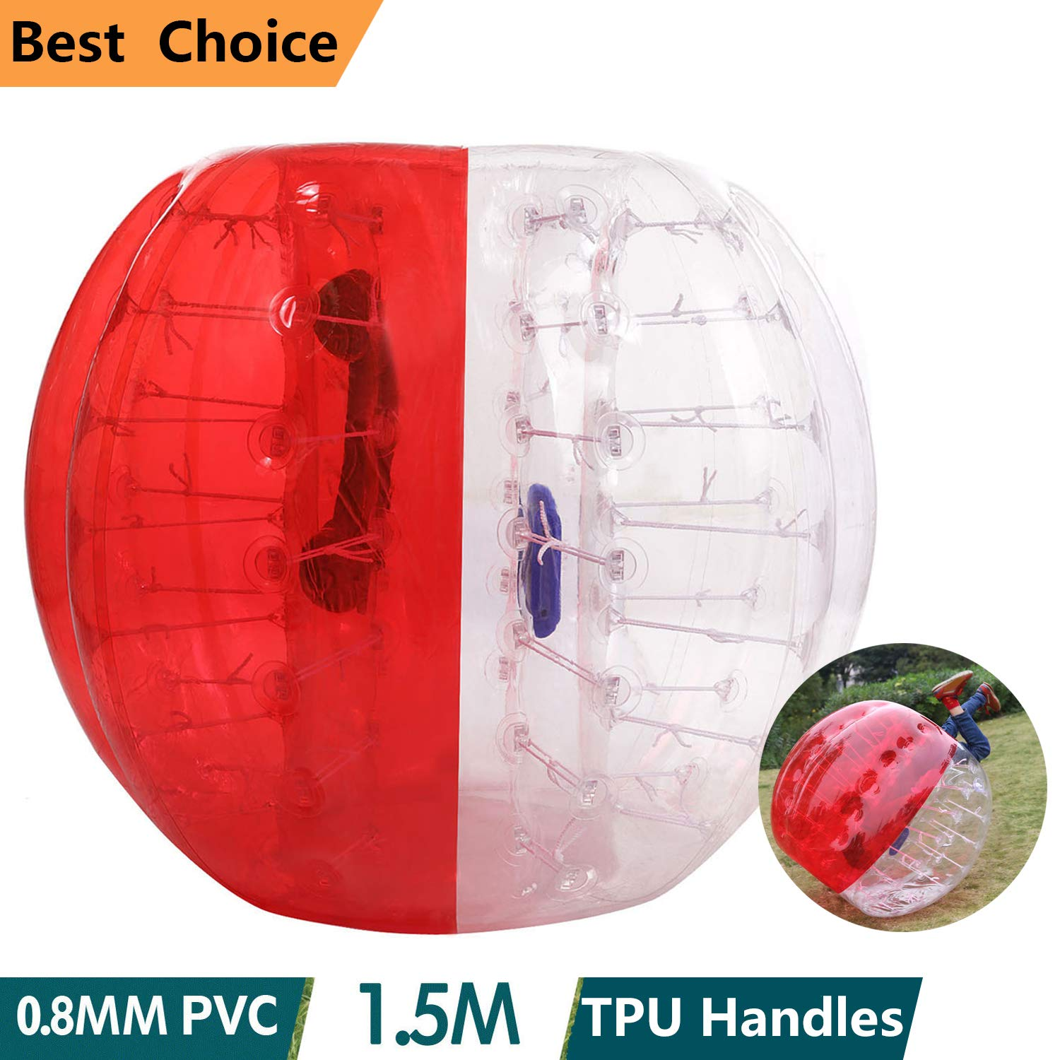 shaofu Inflatable Bumper Ball Dia 4/5 ft (1.2/1.5 m) Human Hamster Ball for Adults/Kids Eight Colors(US Stock) (Dia 5 ft/Red)