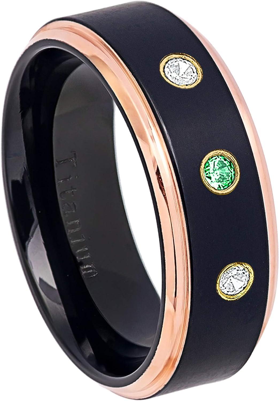 8MM Black Ion Plated /& Rose Gold Plated Stepped Edge Comfort Fit Wedding Band 0.21ctw Tsavorite /& Diamond 3-Stone Titanium Ring