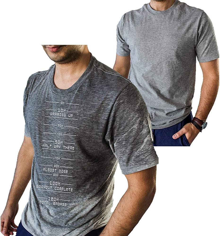 Funny T Shirt for Men with Sweat Activated Technology Workout Progress Meter You Can Go Home When Reach 100% Cool Gym Gift