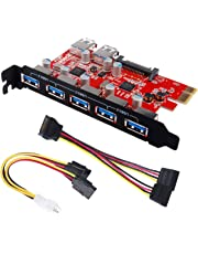 Inateck KTU3FR-5O2U Superspeed 7 Ports PCI-E to USB 3.0 Expansion Card - 5 USB 3.0 Ports and 2 Rear USB 3.0 Ports Express Card Desktop with 15 Pin SATA Power Connector, Including Two Power Cables