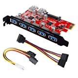 Inateck Superspeed 7 Ports PCI-E to USB 3.0 Expansion Card - 5 USB 3.0 Ports and 2 Rear USB 3.0 Ports Express Card Desktop with 15 Pin SATA Power Connector, Including Two Power Cables