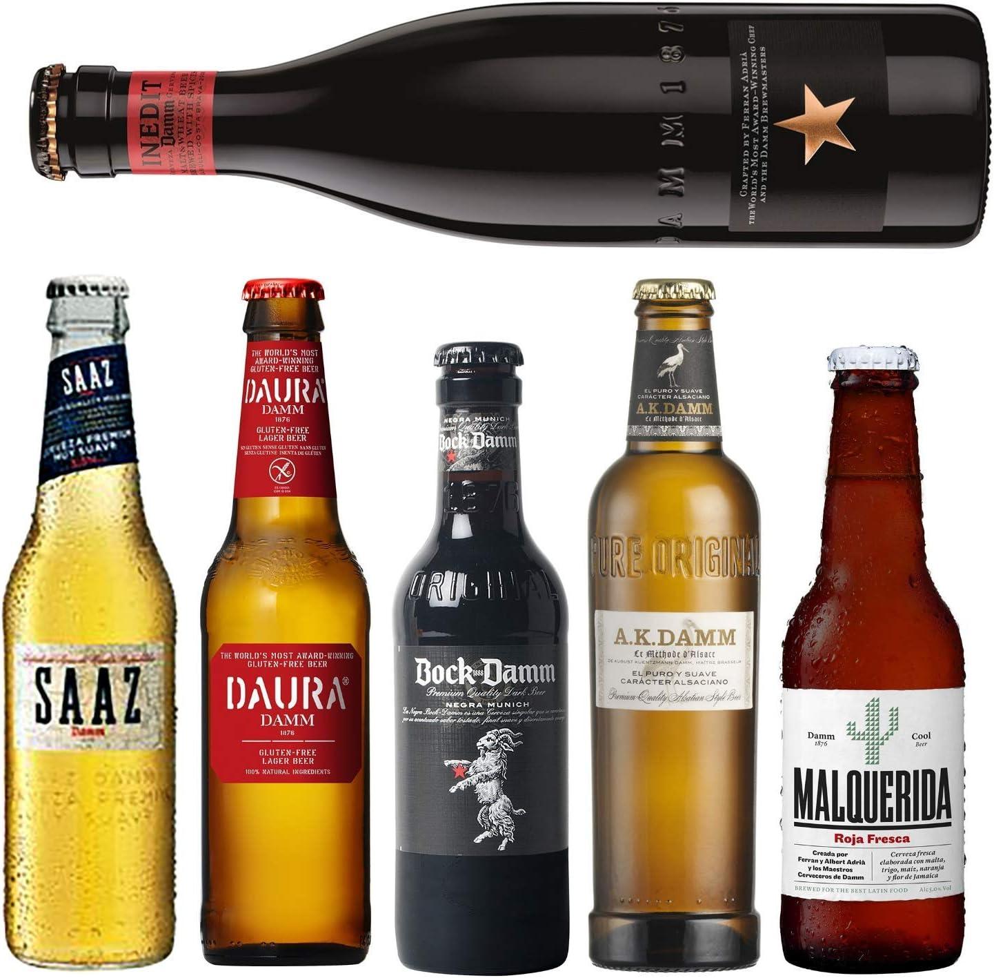 Pack de cervezas Damm - AK Damm, Malquerida cerveza, Damm Daura, Saaz, Inedit Damm, Bock Damm - Cervezas para coleccionar o degustar - Envio 24/48h: Amazon.es: Alimentación y bebidas