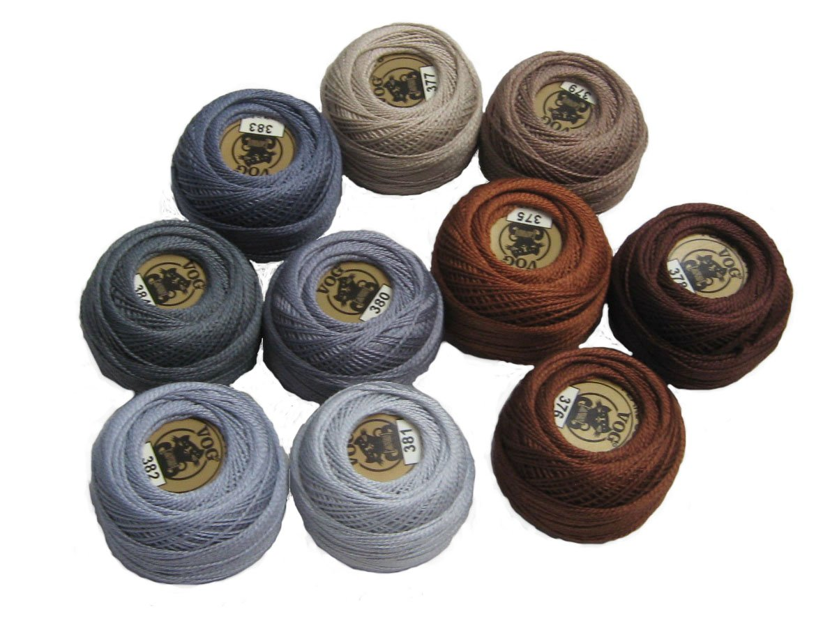 Vog Perle Cotton Size 8 Embroidery Threads - Set of 10 Balls (10gr Each) - Brown and Gray Shades (column No. 8) by Vog