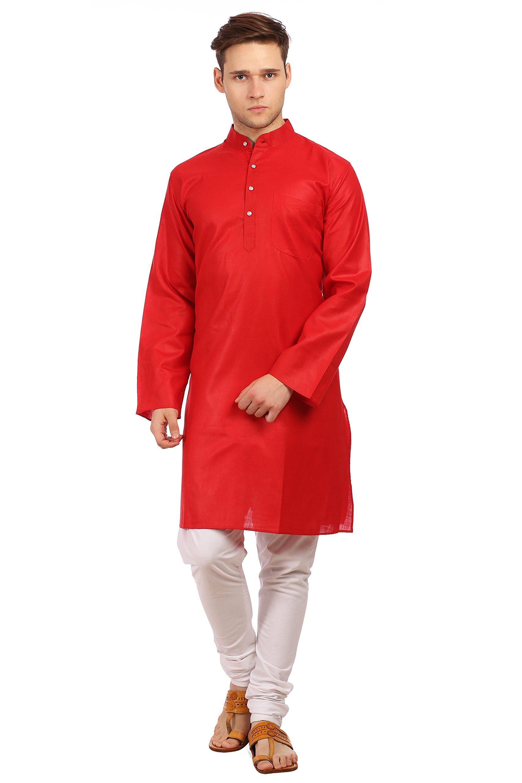WINTAGE Men's Cotton Silk Festive and Casual Red Kurta Pyjama