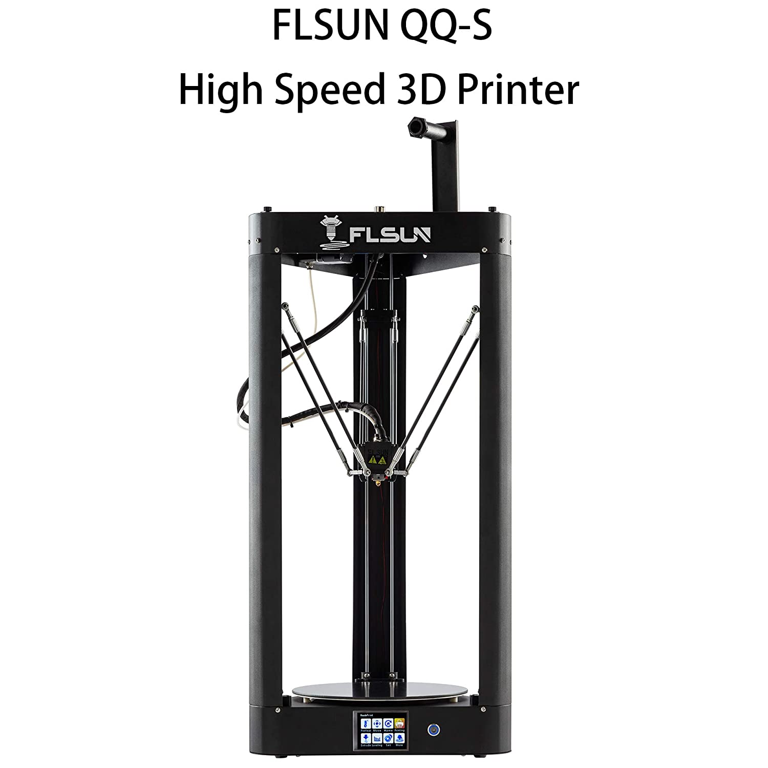 FLSUN QQ-S 90% Pre-assembled Delta 3D Printer Lattice galss platform Large Printing Size φ255X360mm, Auto Leveling,Titan Extruder,Touch Screen,WIFI Remote Control,Filament 1.75 mm PLA