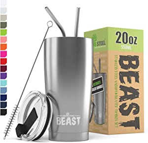 Greens Steel Beast 20oz Stainless Steel Tumbler Vacuum Insulated Coffee Cup Double Wall Travel Flask Mug with Splash Proof Lid, 2 Straws, Pipe Brush & Gift Box Bundle