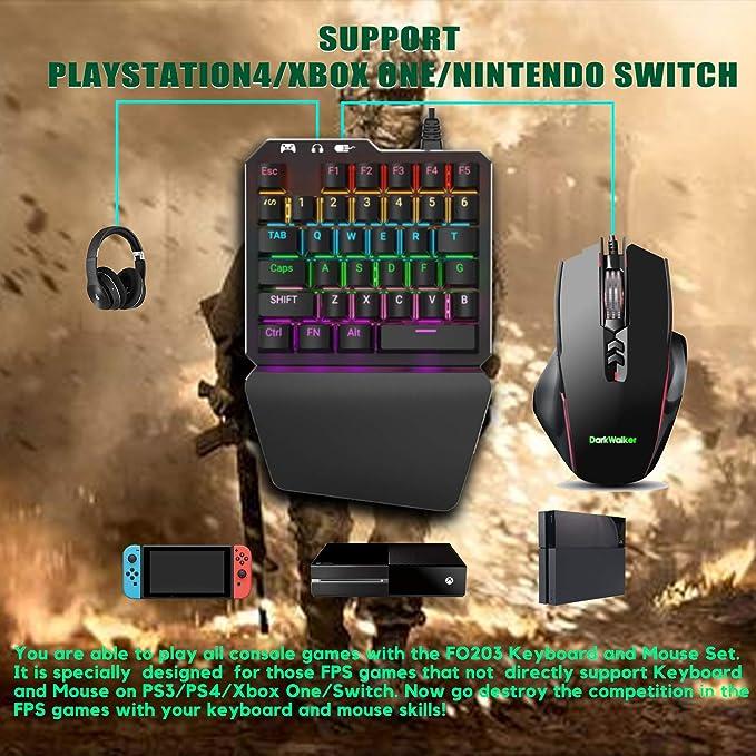 Delta essentials FO203 Combo Teclado y Ratón, Teclado mecánico Gaming Switch Azul Juegos, Adaptador Convertidor para PlayStation 3/PlayStation ...