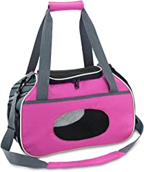 Pet Travel Carrier for Small Dogs and Cats with Ventilation, 2 Openings and and 2 Side Pockets- Reflective by Best Pet Supplies