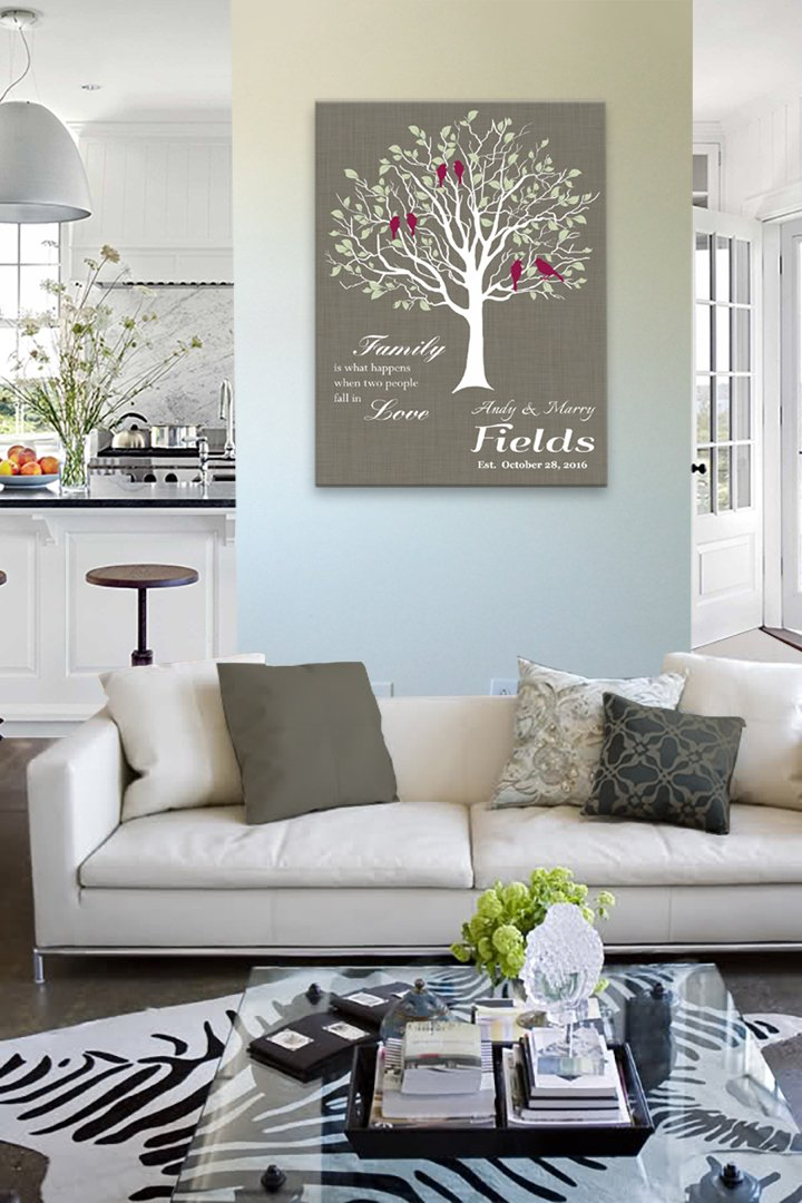 MuralMax - Custom Family Tree, When Two People Fall In Love, Stretched Canvas Wall Art, Wedding & Anniversary Gifts, Unique Wall Decor, Color, Dark Taupe - 30-DAY - Size - 24x30 by MuralMax (Image #4)