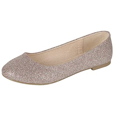 Cambridge Select Women's Closed Round Toe Glitter Slip-On Ballet Flat | Shoes