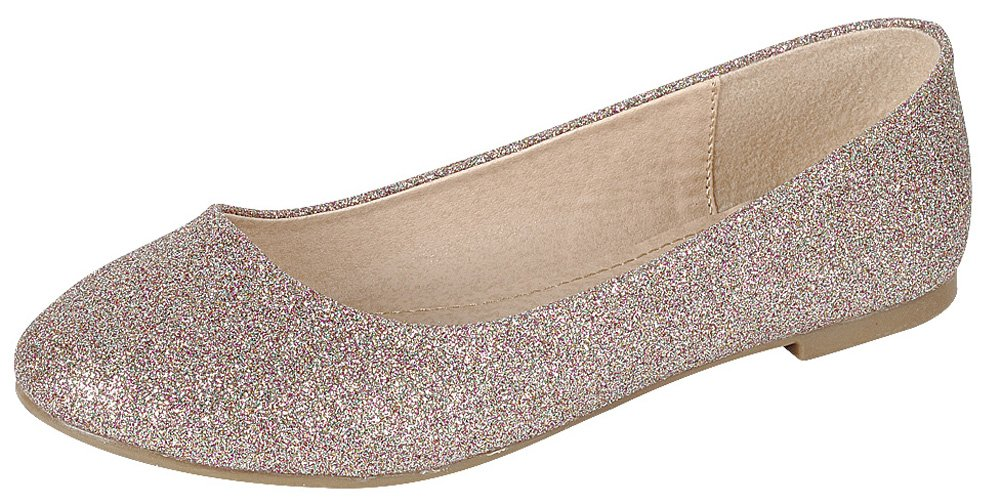 Cambridge Select Women's Closed Round Toe Glitter Slip-On Ballet Flat B07CX6XF3N 8 B(M) US|Rose Gold