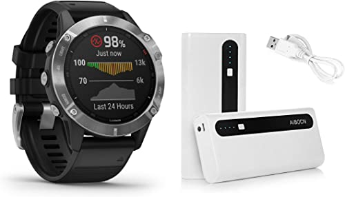 Garmin Fenix 6 Silver with Black Band, Premium Multisport GPS Watch 010-02158-00 and Aibocn 10,000mAh Portable Battery Charger Bundle