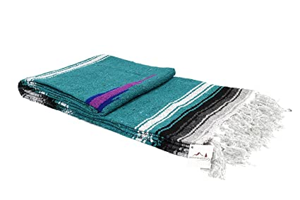 Open Road Goods Turquoise with Stripes Aztec Heavyweight Yoga Blanket or Throw - Made for Yoga!