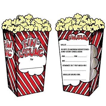 Dekospass 6 Popcorn Cinema Invitation Cards For Children S Birthday