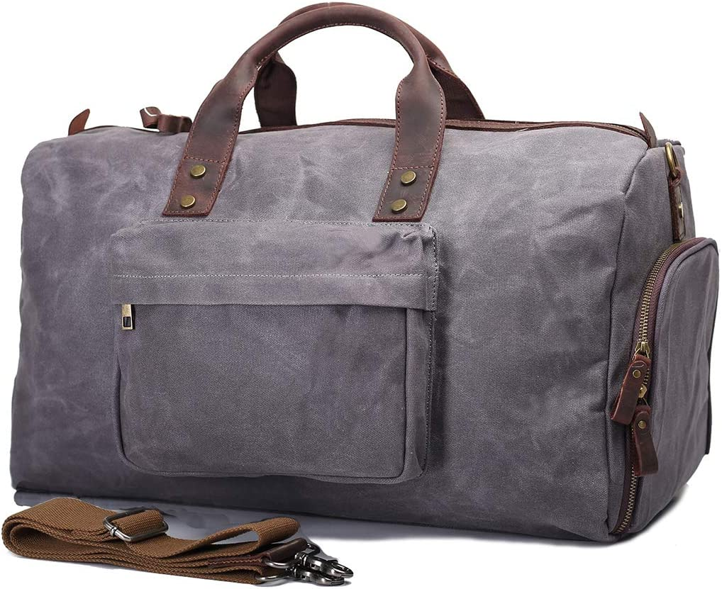 UNISACK Waterproof Waxed Canvas Leather Trim Travel Tote Duffel Handbag Weekend Bag Carry On with Shoe Pocket