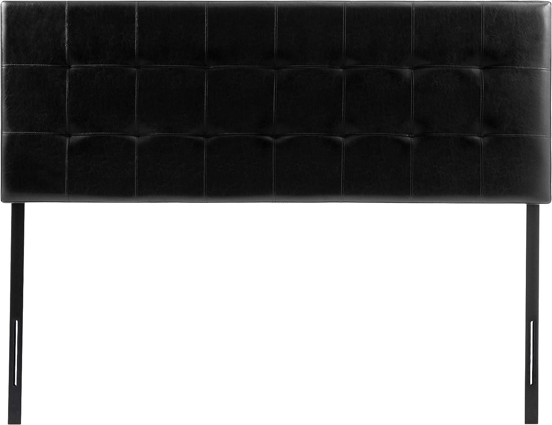 AmazonBasics Modern Tufted Vinyl Upholstered Headboard – Queen, Black