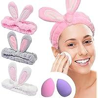 YMHPRIDE Spa Diadema - Diadema de conejo de 3 piezas para niñas, mujeres, encantadora y suave diadema elástica Carol con…