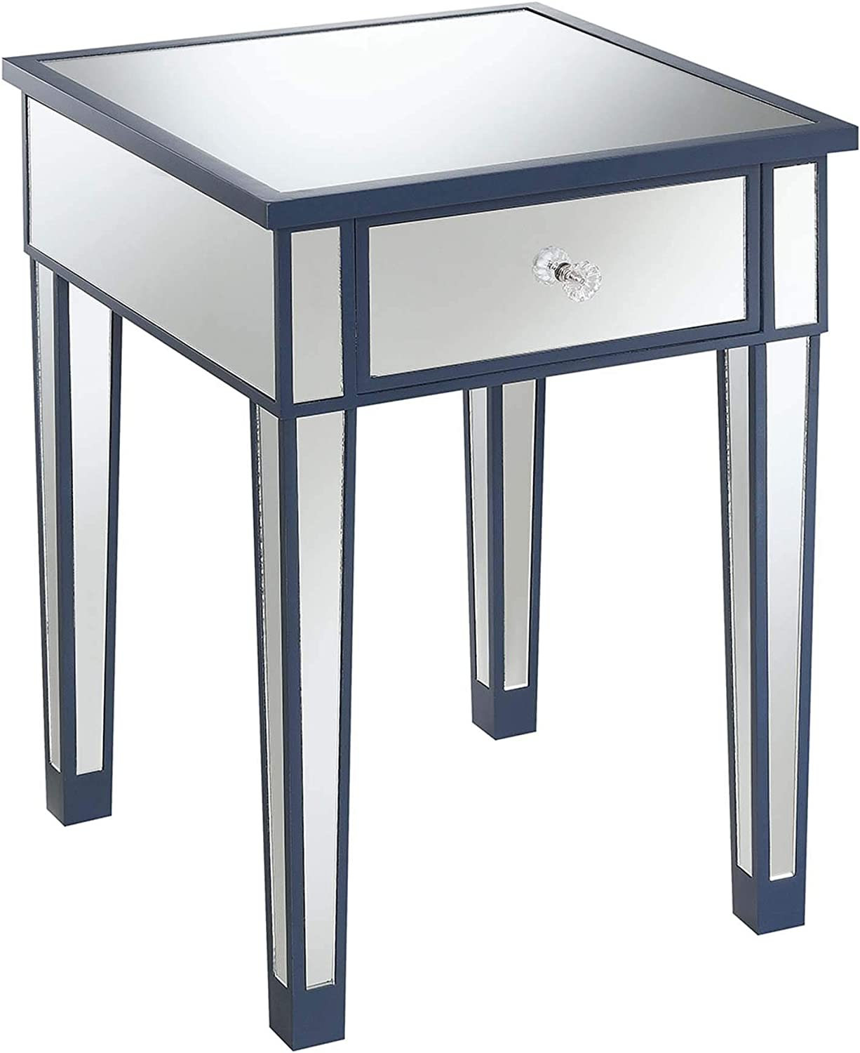 Convenience Concepts Gold Coast Mirrored End Table with Drawer, Cobalt Blue / Mirror