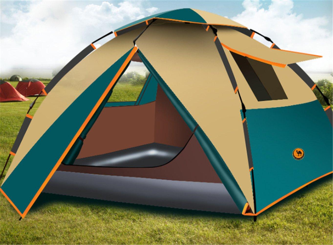 Yeying123 3-4 Personen Double LayeROT Camping Zelt Wasserdicht, Anti-Insect Für Camping/Wandern,Beige