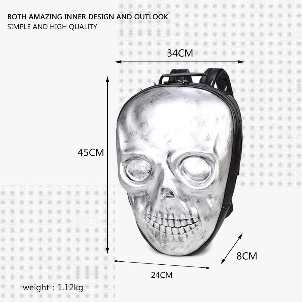 Super-cool Teen/'s Retro Punk Style Round PU 3D Skull Pattern Backpack School Bag