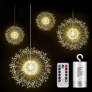 KJOY 4pcs Upgrade 198led Firework Lights, Hanging Starburst Lights LED Copper Wire String Lights Battery Operated Fairy Lights with Remote, 8 Modes Dimmable, for Party, Christmas, Outdoor