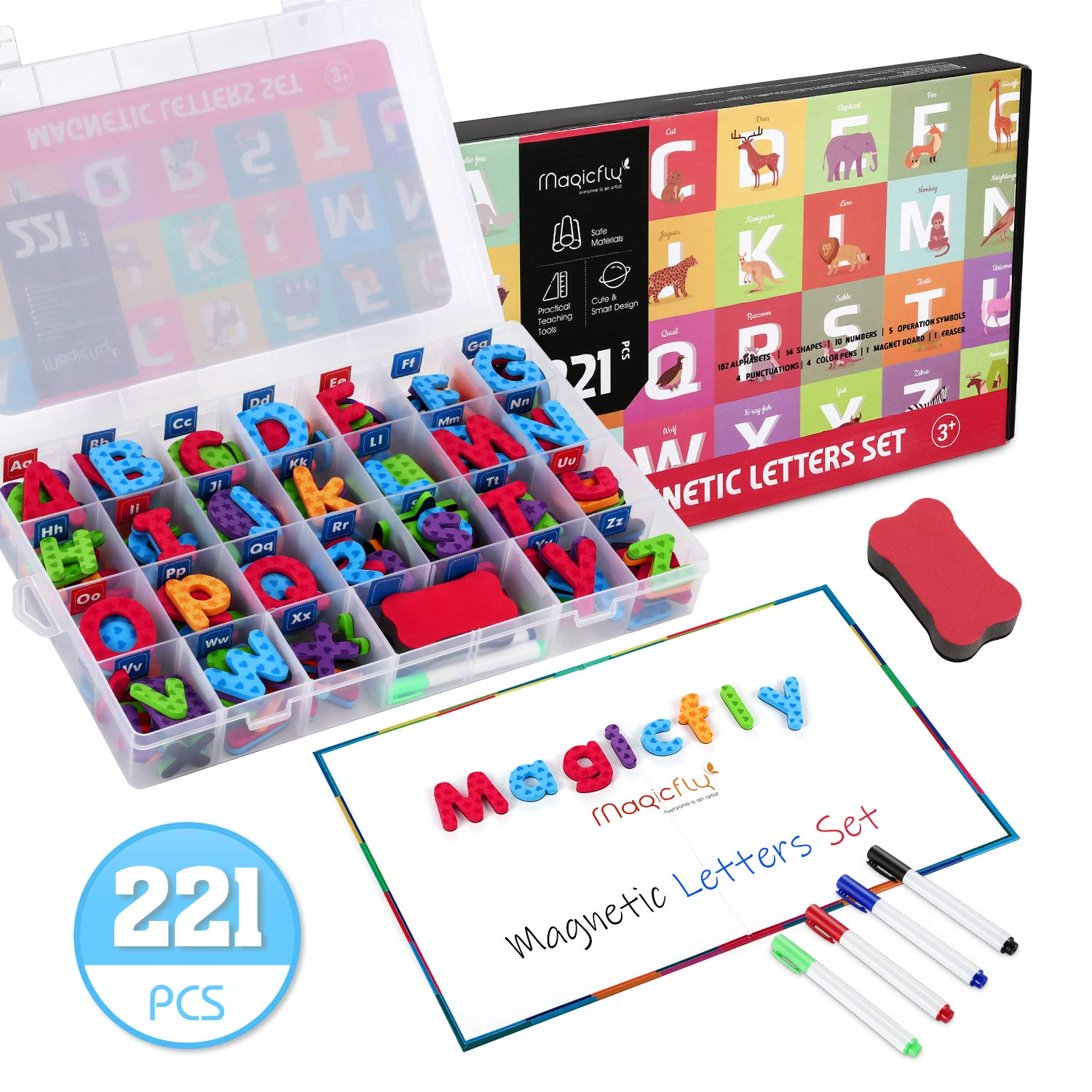 Magicfly 221 PCS Magnetic Letters Kit with Foldable Magnet Board & Storage Box, Classroom Foam Alphabet Letters Number Magnet with Double Sides Dry Erase Board for Kids Spelling and Learning