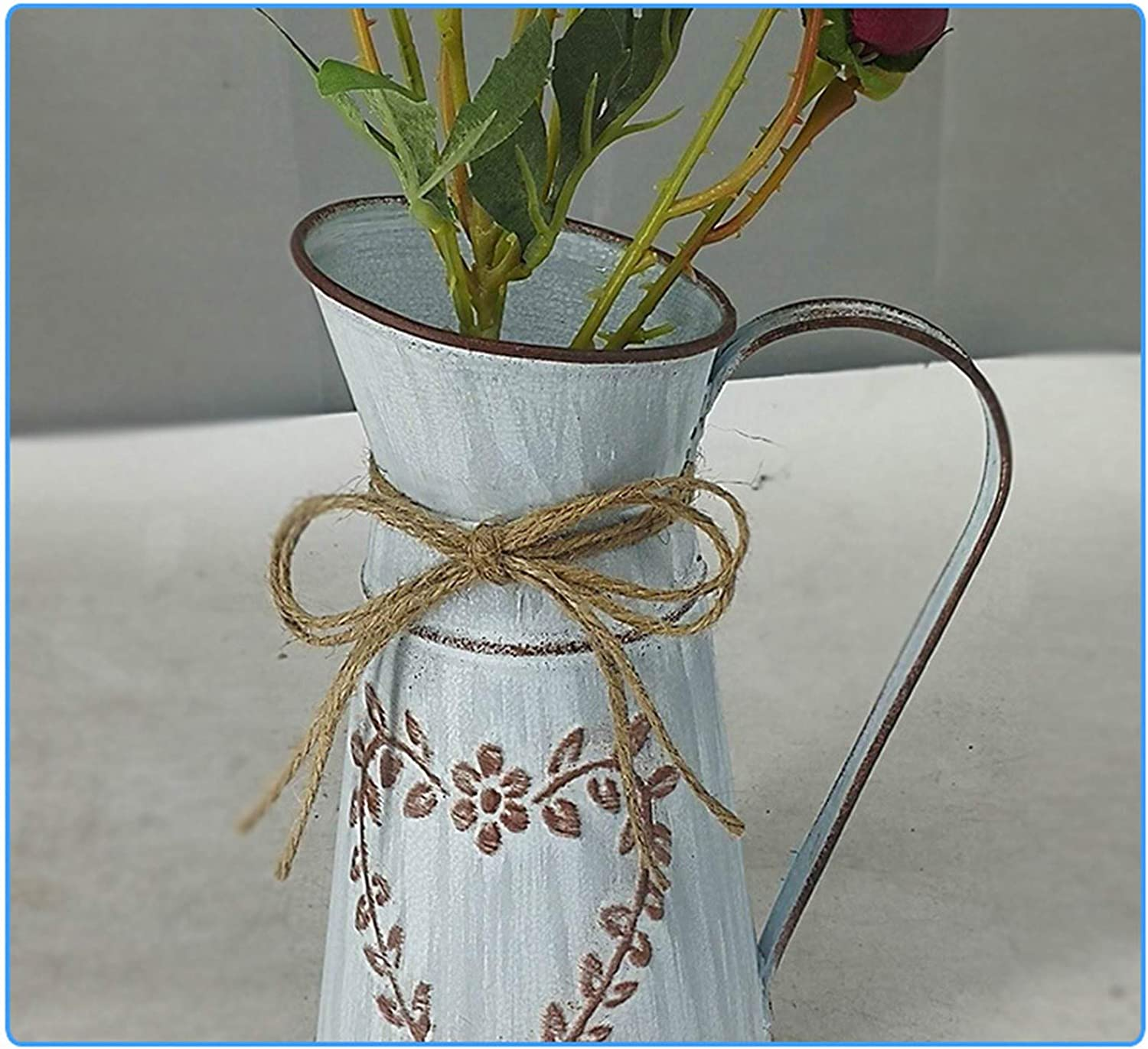 94 inch Vintage Metal Galvanized Flower Vase - Table Centerpiece Rustic Home Decor for Fresh and Dried, Imitation Flower Vase Arrangements for Home and Weddings