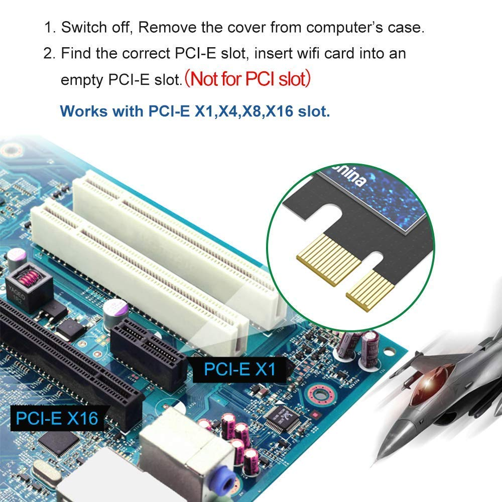 Amazon.com: Edup - Tarjeta PCI Express WiFi AC1300 PCIe ...