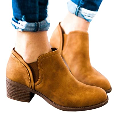 Ruanyu Womens Chelsea Ankle Boots Cutout Chunky Block Heel Slip On Round Toe Classic Booties   Ankle & Bootie